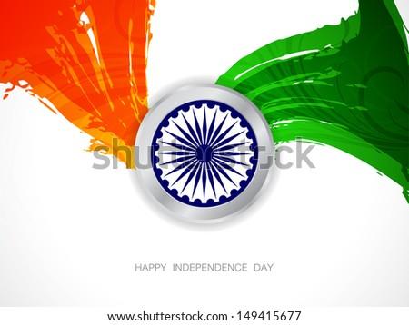 elegant Indian flag theme background with asoka wheel. - stock vector