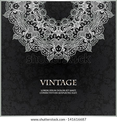 Elegant Indian ornamentation on a dark background. Stylish design. Can be used as a greeting card or wedding invitation - stock vector