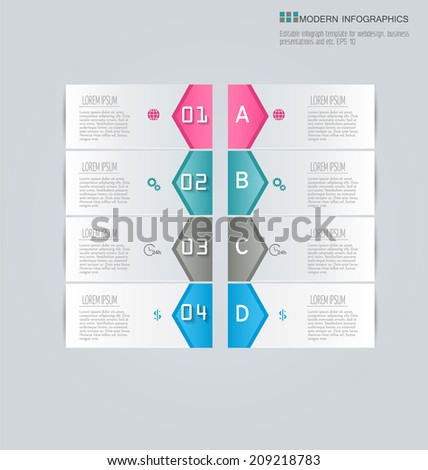 Elegant infographics template design for website banners, business, brochure. Editable vector illustration. Horizontal. Pink, green, grey, blue. - stock vector
