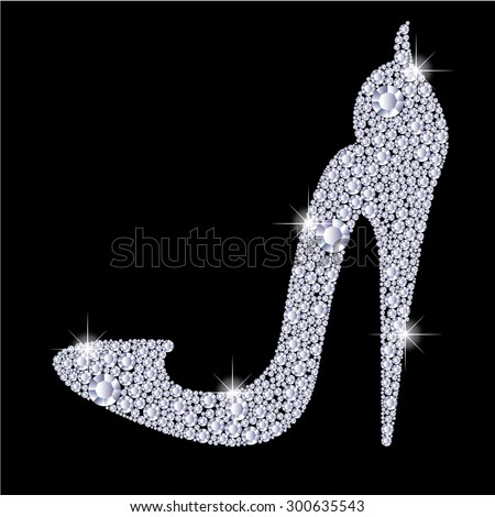 Elegant ladies high heels shoe shape, made with shiny diamonds. Isolated on the black background. Vector illustration. - stock vector