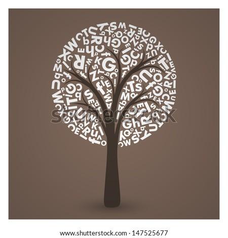 Elegant Letter Tree EPS10 Vector  - stock vector