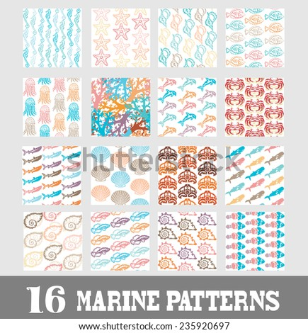 Elegant marine seamless patterns with decorative sea life representatives, design elements. Can be used for invitations, greeting cards, scrapbooking, print, gift wrap, manufacturing. Summer theme - stock vector