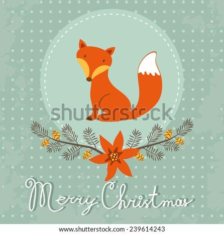 Elegant Merry Christmas card with cute fox. vector illustration - stock vector