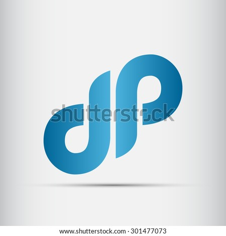 Elegant minimal letter symbol. Alphabet D and P logo design. Vector illustration. - stock vector