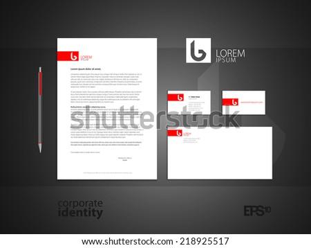 Elegant minimal style identity. Red colored corporate identity template design. Vector illustration. - stock vector