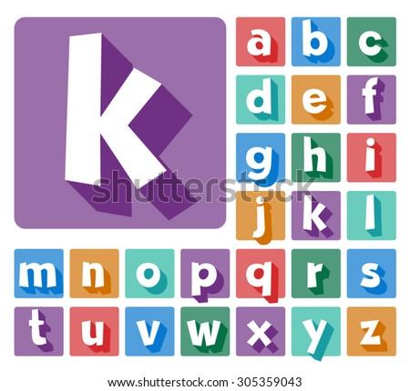 Elegant minimalistic vector alphabet in cartoon style. Lowercase letters - stock vector