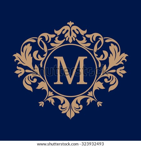 Elegant monogram design template. Calligraphic floral ornament. Can be used for label and invitation design .Business sign, monogram identity for restaurant, boutique, cafe, hotel, heraldic, jewelry. - stock vector