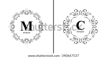 Elegant monogram design template. Luxury calligraphic emblem frame ornament. Line logo design. Vector illustration good for Boutique, Restaurant, Cafe, Heraldic, Hotel, Fashion, Jewelry. - stock vector