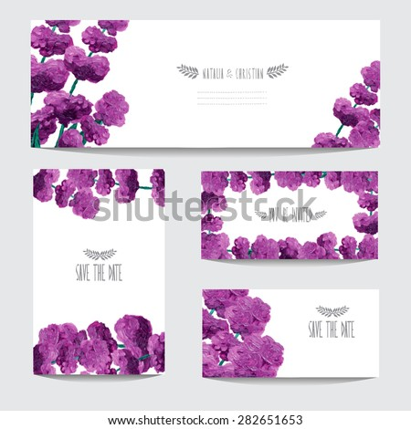 Elegant oil painted lavender cards, design elements. Can be used for wedding, baby shower, mothers day, valentines day, birthday cards, invitations, banners, flyers, gift wrap, print, manufacturing - stock vector