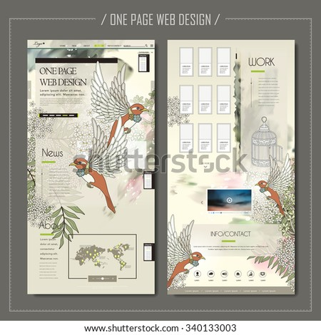 elegant one page web design with blessing birds and floral elements - stock vector