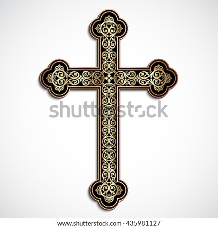 elegant ornamental 3d cross with shadow / vector eps10 - stock vector