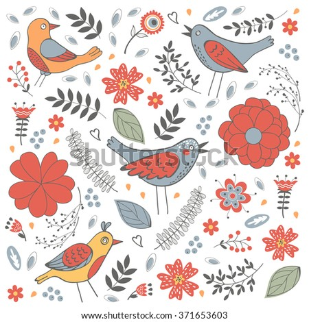 Elegant pattern with flowers and birds - stock vector