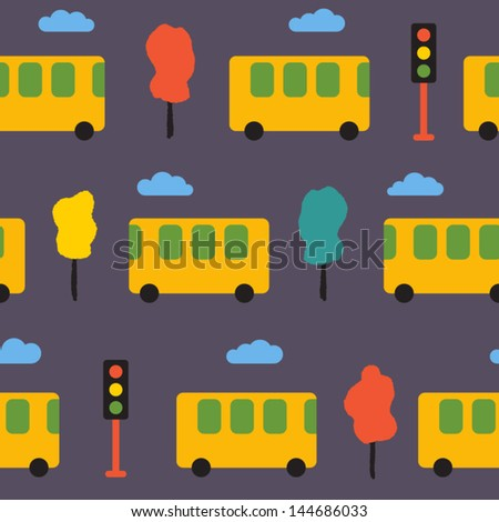 Elegant pattern with yellow buses, trees and traffic lights. Vector seamless - stock vector