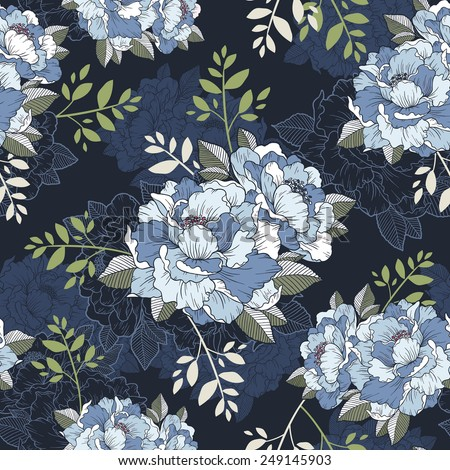 elegant peony seamless floral pattern background over blue - stock vector