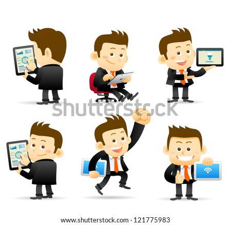Elegant People Series -Businessman & tablet pc - stock vector