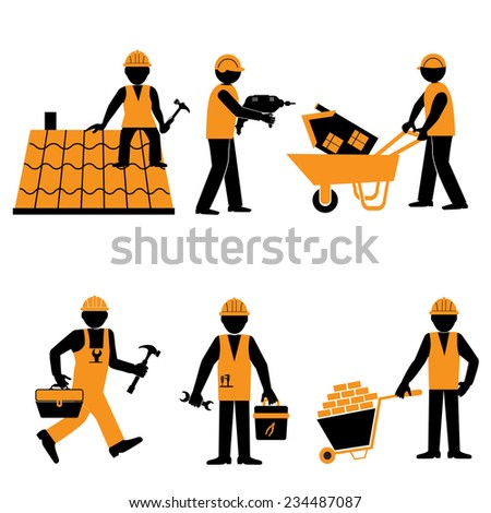 Elegant People Series. Tools and equipment for constructions the cottage - vector illustration - stock vector