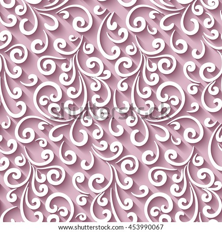 Elegant pink background with paper swirls, vector seamless pattern, eps10 - stock vector