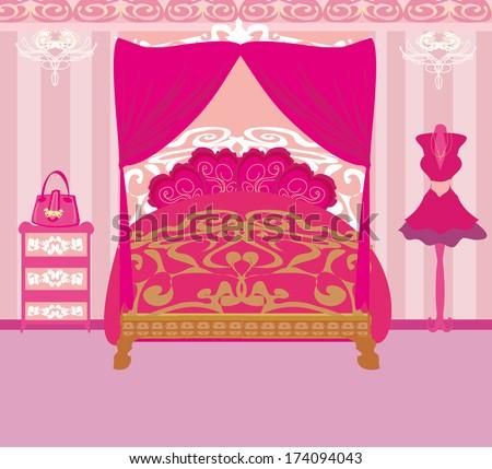 elegant pink bedroom - stock vector