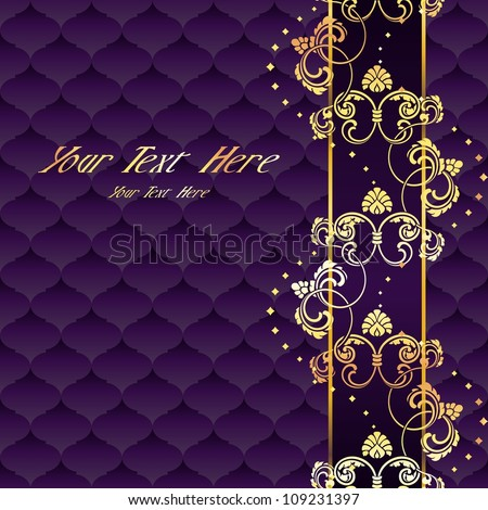 Elegant purple and gold Rococo background with ornamental margin (EPS10); jpg version also available - stock vector