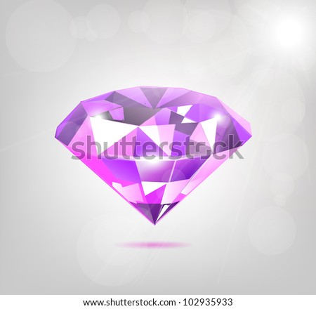 Elegant Purple Diamond Illustration - stock vector