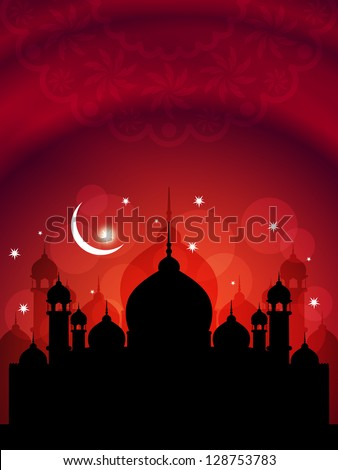 Elegant red color religious Eid background with mosque. vector illustration - stock vector