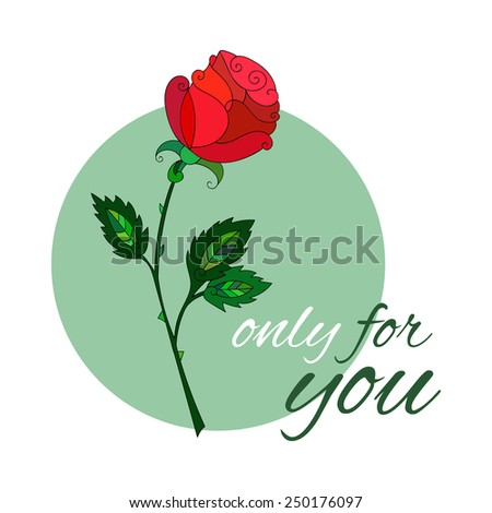 Elegant red rose with swirls - stock vector
