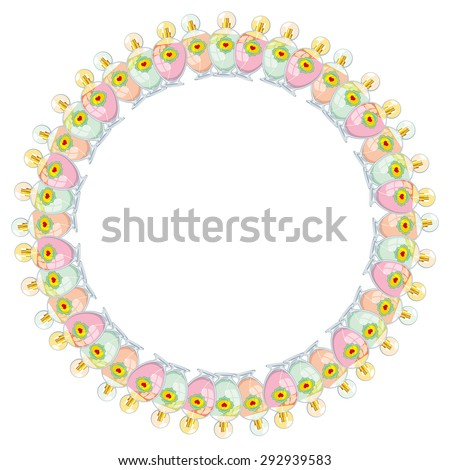 Elegant round frame with bottles of perfume isolated on a white background - stock vector