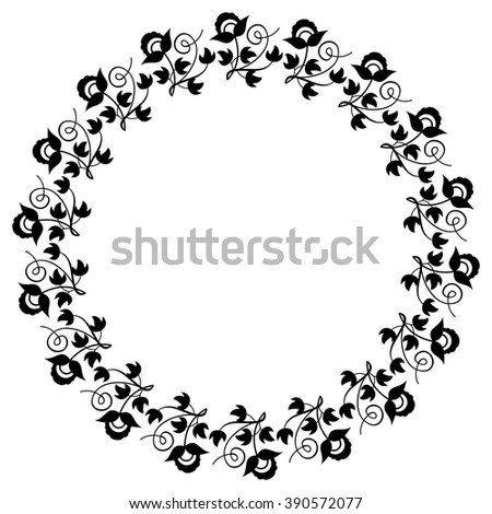 Elegant round frame with silhouettes of decorative plants - stock vector
