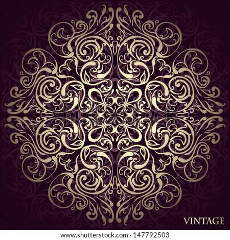 Elegant round Lace design - stock vector