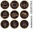 Elegant round restaurant related icons - stock vector