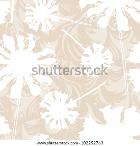elegant seamless pattern in soft brown white colors for your design - stock vector