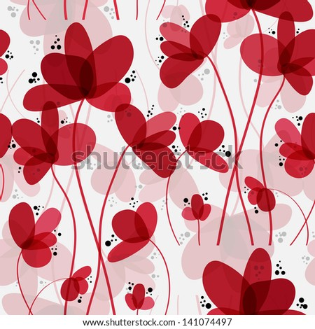 elegant seamless pattern with abstract red flowers for your design - stock vector