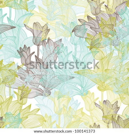 elegant seamless pattern with abstract tulip flowers for your design - stock vector