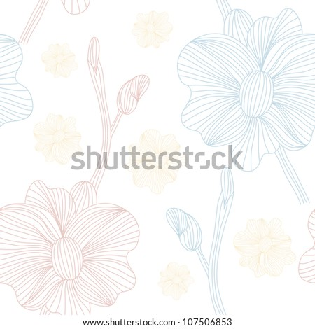 elegant seamless pattern with blue pink flowers for your design - stock vector