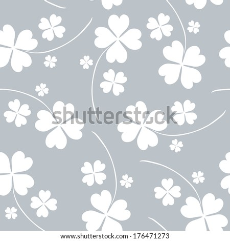 elegant seamless pattern with decorative four leaf clovers, design element - stock vector