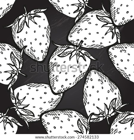 Elegant seamless pattern with decorative strawberries, design elements. Can be used for invitations, greeting cards, scrapbooking, print, gift wrap, manufacturing. Chalkboard food background - stock vector