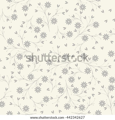 Elegant seamless pattern with flowers and petals on ivory background can be used for wallpapers, surface textures, textile,linen, kids cloth, pattern fills, page backgrounds and more designs.  - stock vector