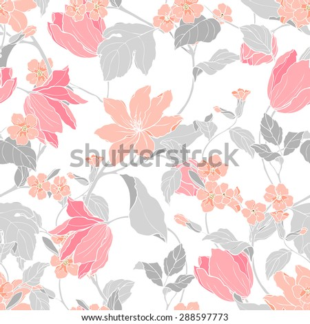 Elegant Seamless pattern with flowers Magnolia and tulips, vector floral illustration in vintage style - stock vector
