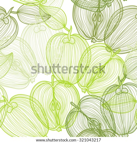 Elegant seamless pattern with hand drawn decorative apple fruits, design elements. Can be used for invitations, greeting cards, scrapbooking, print, gift wrap, manufacturing. Food background - stock vector