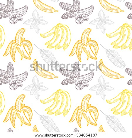 Elegant seamless pattern with hand drawn decorative banana fruits, design elements. Can be used for invitations, greeting cards, scrapbooking, print, gift wrap, manufacturing. Food background - stock vector