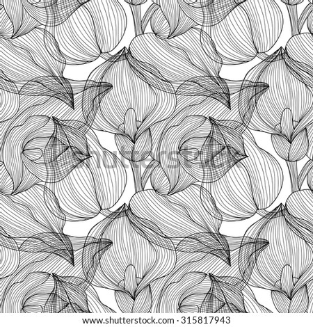 Elegant seamless pattern with hand drawn decorative calla flowers, design elements. Floral pattern for wedding invitations, greeting cards, scrapbooking, print, gift wrap, manufacturing. - stock vector