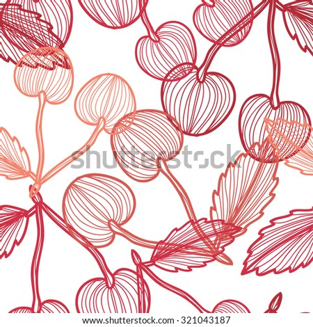 Elegant seamless pattern with hand drawn decorative cherry fruits, design elements. Can be used for invitations, greeting cards, scrapbooking, print, gift wrap, manufacturing. Food background - stock vector