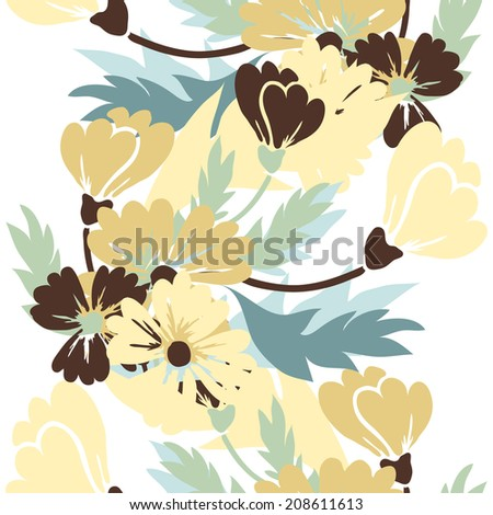 Elegant seamless pattern with hand drawn decorative flowers, design elements. Floral pattern for wedding invitations, greeting cards, scrapbooking, print, gift wrap, manufacturing. - stock vector