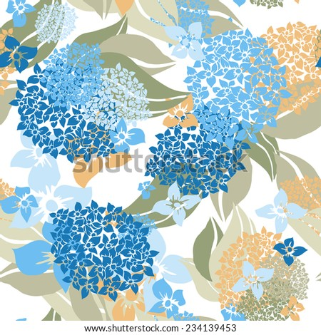 Elegant seamless pattern with hand drawn decorative hydrangea flowers, design elements. Floral pattern for wedding invitations, greeting cards, scrapbooking, print, gift wrap, manufacturing. - stock vector