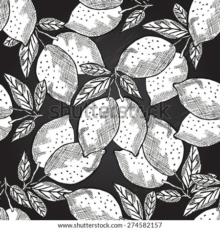 Elegant seamless pattern with hand drawn decorative lemons, design elements. Can be used for invitations, greeting cards, scrapbooking, print, gift wrap, manufacturing. Chalkboard food background - stock vector