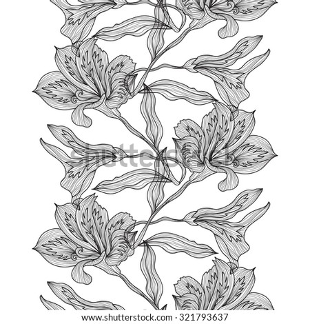 Elegant seamless pattern with hand drawn decorative lily flowers, design elements. Floral pattern for wedding invitations, greeting cards, scrapbooking, print, gift wrap, manufacturing. - stock vector