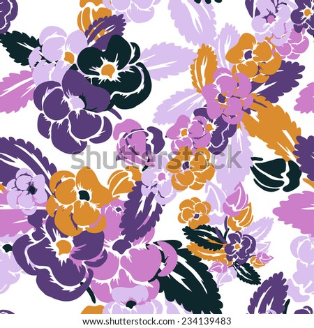 Elegant seamless pattern with hand drawn decorative pansy flowers, design elements. Floral pattern for wedding invitations, greeting cards, scrapbooking, print, gift wrap, manufacturing. - stock vector