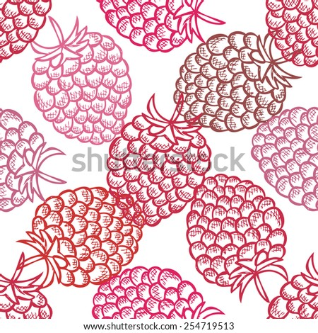 Elegant seamless pattern with hand drawn decorative raspberries, design elements. Can be used for invitations, greeting cards, scrapbooking, print, gift wrap, manufacturing. Food background - stock vector