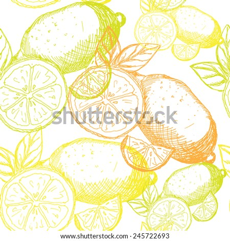 Elegant seamless pattern with hand drawn lemon fruits, design element. Fruit pattern for invitations, greeting cards, scrapbooking, print, gift wrap, manufacturing. Healthy food. Kitchen theme - stock vector