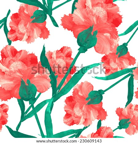 Elegant seamless pattern with oil painted red flowers, design elements. Floral pattern for wedding invitations, greeting cards, scrapbooking, print, gift wrap, manufacturing - stock vector